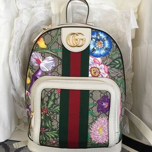 Gucci White Supreme Ophidia Flora Small Backpack